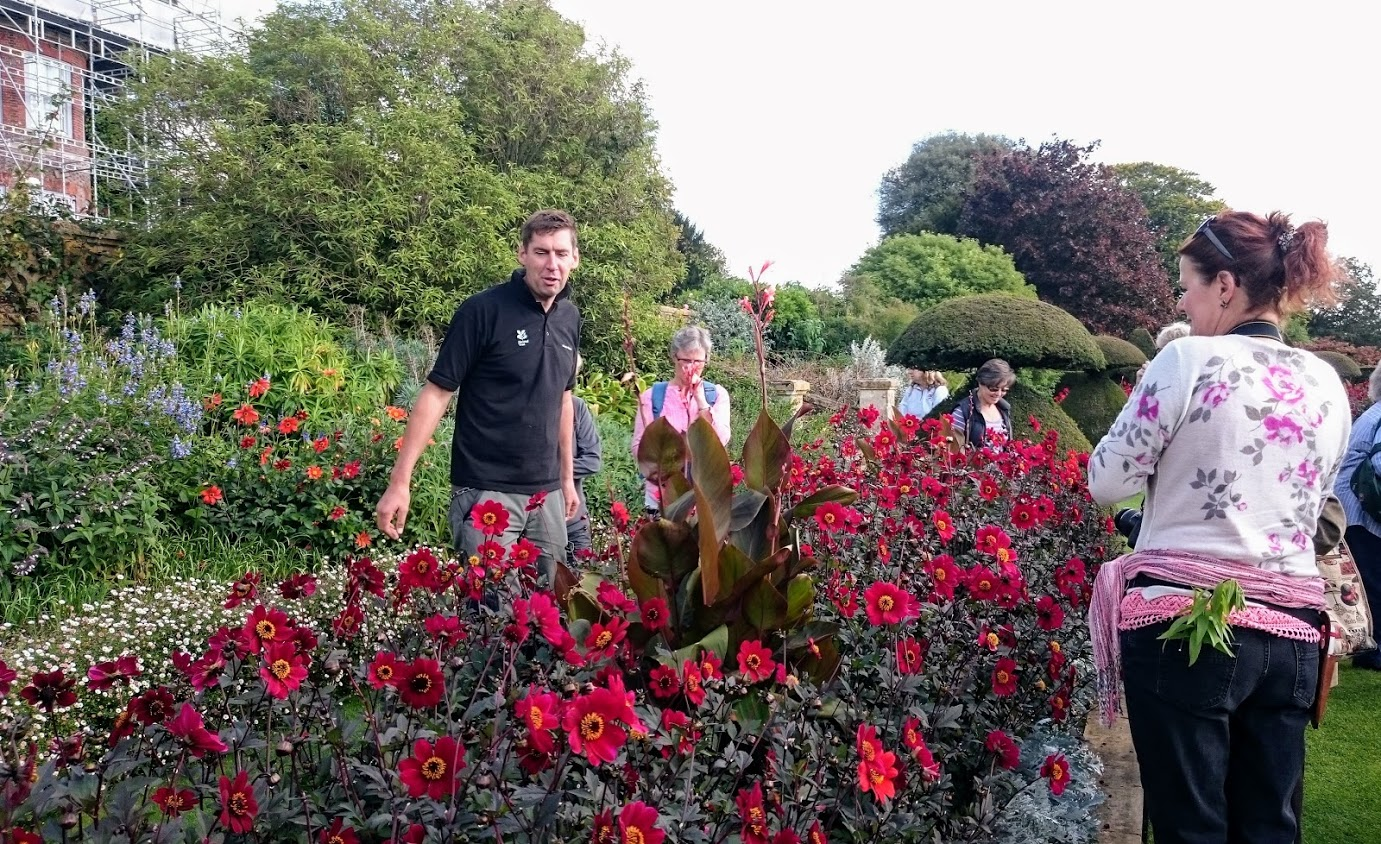 John Wood, head gardener at Hinton Ampner, with HRG members
